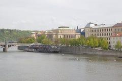 Argine del fiume della Moldava Fotografia Stock Libera da Diritti