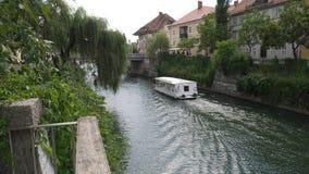 Argine del fiume di Ljubljanica fotografia stock libera da diritti
