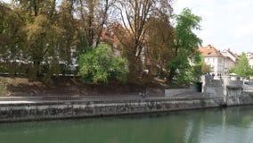 Argine del fiume di Ljubljanica fotografie stock libere da diritti