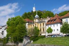 Argine del fiume di Ljubljanica a Transferrina, Slovenia Fotografia Stock