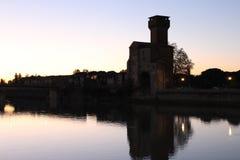 Argine di Arno River, citadella Vescia Immagini Stock