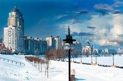 Argine in inverno Fotografie Stock