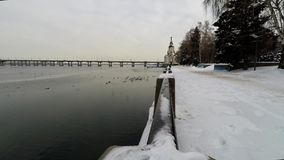 Argine in inverno video d archivio