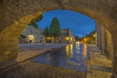Argirokastu square in the old town of Rhodes Royalty Free Stock Photography