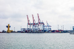 сargo cranes in the port Stock Photo