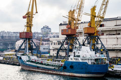 сargo cranes in the port in the winter and boat Royalty Free Stock Photos