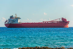 argo freight ship in the caribbean sea. Freight Transportation. Stock Photo