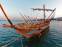 Argo Ship, Volos, Greece. A hand made wooden replica of the Argo, sailed in legend by Jason and the Argonauts, moored in Vols Harbour, Greece. The ship was Royalty Free Stock Photo
