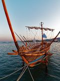 Argo Ship, Volos, Greece. A hand made wooden replica of the Argo, sailed in legend by Jason and the Argonauts, moored in Vols Harbour, Greece. The ship was Stock Images