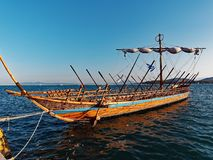 Argo Ship, Volos, Greece. A hand made wooden replica of the Argo, sailed in legend by Jason and the Argonauts, moored in Vols Harbour, Greece. The ship was Stock Photo