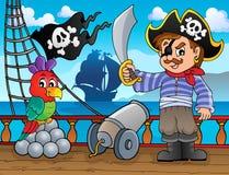 Argomento 3 della piattaforma della nave di pirata illustrazione di stock