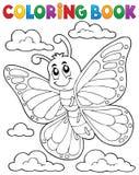 Argomento felice 1 della farfalla del libro da colorare Fotografia Stock Libera da Diritti