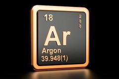Argon Ar chemical element. 3D rendering. Argon Ar, chemical element. 3D rendering isolated on black background Stock Photos