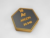 Argon - Ar - chemical element periodic table hexagonal shape. 3d illustration Royalty Free Stock Photos