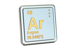 Argon Ar, chemical element sign. 3D rendering. Isolated on white background Royalty Free Stock Photo