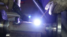Argon arc welding, Inert gas shielded arc welding in a Workshop stock video