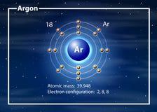 Argon atom diagram concept. Illustration stock illustration