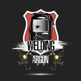 Argon för svetsning för logomalldesign royaltyfri illustrationer