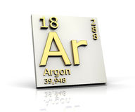 Argon form Periodic Table of Elements. 3d made Royalty Free Stock Image