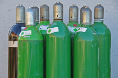 Argon gas bottles. For welding in protective gas atmospere Stock Image