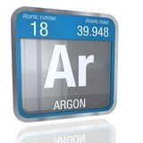 Argon symbol  in square shape with metallic border and transparent background with reflection on the floor. 3D render. Element number 18 of the Periodic Table Stock Image