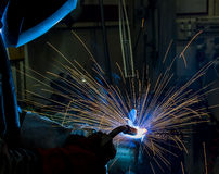 Argon welding splatter Stock Image