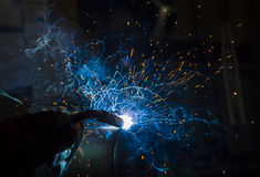 Argon welding splatter Royalty Free Stock Photo