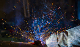 Argon welding splatter Royalty Free Stock Photography