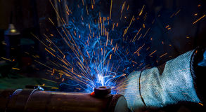 Argon welding splatter Stock Photo