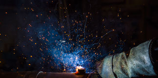Argon welding splatter Stock Photos