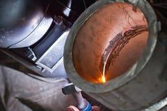 Argonu łuku spaw grubościenna stali nierdzewnej drymba Obraz Stock