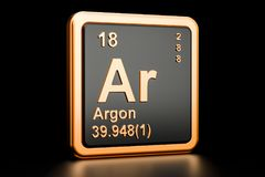 Argonu Ar chemiczny element świadczenia 3 d Zdjęcia Stock