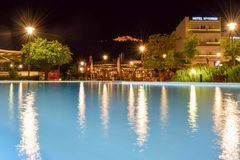 The Argos night cityscape. Argos, Greece - July 19, 2017: Argos night cityscape with the castle Larissa in  background Royalty Free Stock Images
