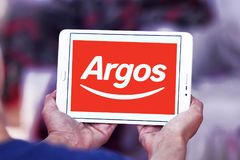 Argos retailer logo. Logo of Argos retailer on samsung tablet . Argos, is a British catalogue retailer operating in the United Kingdom and Ireland Royalty Free Stock Image