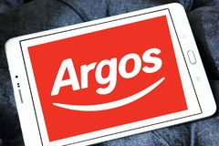 Argos retailer logo. Logo of Argos retailer on samsung tablet . Argos, is a British catalogue retailer operating in the United Kingdom and Ireland Royalty Free Stock Images