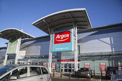 Argos. Swansea, UK: December 28, 2016: Main entrance to an Argos Megastore taken from the car park with disabled parking available near the store Royalty Free Stock Image
