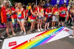 Argos workers celebrating Pride In London 2017 parade. stock image