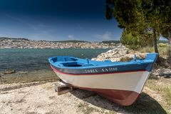 Argostoli and boat Kefalonia. royalty free stock images