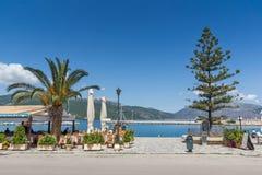 ARGOSTOLI, KEFALONIA GRECJA, MAJ, - 26 2015: Panorama miasteczko Argostoli, Kefalonia, Grecja Fotografia Stock