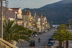 Argostoli, Kefalonia, Greece - May 26 2015: Amazing Sunrise view of Embankment of town of Argostoli, Kefalonia,. Ionian islands, Greece stock photography