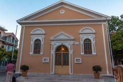 Argostoli, Kefalonia, Griechenland - 25. Mai 2015: Sonnenuntergangansicht der Kirche in der Stadt von Argostoli, Kefalonia, Griec Lizenzfreie Stockbilder