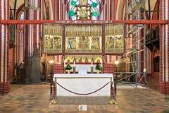 Argt altare av den Doberan domkyrkan i dåliga Doberan, Tyskland arkivbild