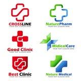 Argt tecken för medicinsk klinik och fastställd design för naturlig omsorglogovektor royaltyfri illustrationer