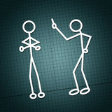 Argue. Simple drawing of two humanoid figures having an argue over a paper texture Stock Images