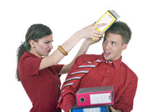 Argue. Two workers argue in office Stock Image