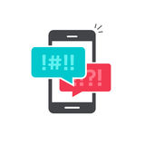 Argue chat bubbles on mobile phone icon vector Stock Photos