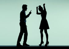 Arguing couple in the bad mood Stock Image