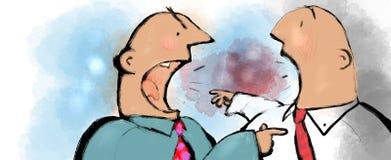 Arguing men. Two cartoon men arguing together vector illustration