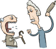 Arguing Senior Citizens. A cartoon senior man and woman argue and threaten one another Royalty Free Stock Photography