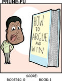 Argument With Book. Black man argues with a book Prune-Fu comic strip 1 Stock Photos
